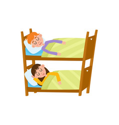 Vecotr flat cartoon girl and boy sleeping in beds vector