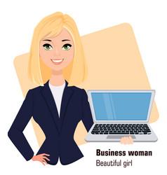 Young cartoon businesswoman wearing business vector