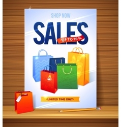 Sale poster shopping paper bags of vector