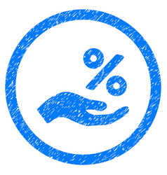 Percent offer hand rounded grainy icon vector