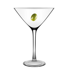 Martini glass with olive isolated on white vector