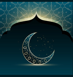 Mosque door with creative crescent moon for eid vector