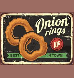 Onion rings retro restaurant sign vector