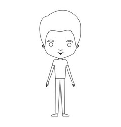 Silhouette caricature thin guy in clothes with vector
