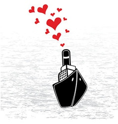 Boat love in valentines day vector