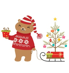 Bear christmas tree vector
