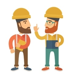 Two workers talking vector