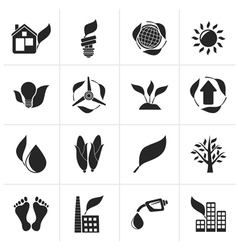 Black environment and nature icons vector
