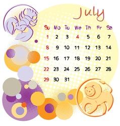 2012 calendar july vector image
