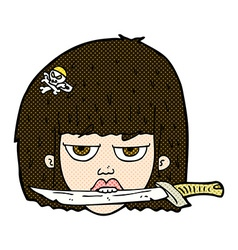 Comic cartoon woman holding knife between teeth vector