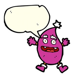Cartoon funny creature with speech bubble vector