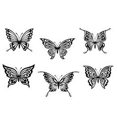 Set of black butterflies vector