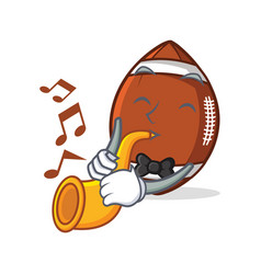 American football character cartoon with trumpet vector