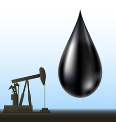Black oil drop and drill silhouette vector