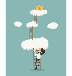 Businessman on a ladder above the clouds looking g vector