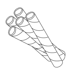 Chocolate wafer straws icon in outline style vector