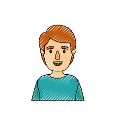 Color crayon stripe caricature half body young man vector