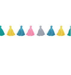 Colorful decorative tassels horizontal vector