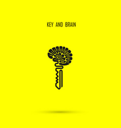 Creative brain sign with key symbol key success vector