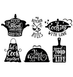 Cuisine short phrases and quotes hand vector