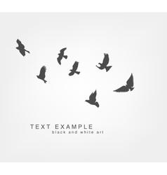 dark figures flying birds vector image vector image