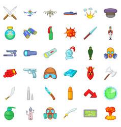 Defense capability icons set cartoon style vector