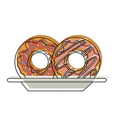 Donuts with chocolate glaze on dish in watercolor vector