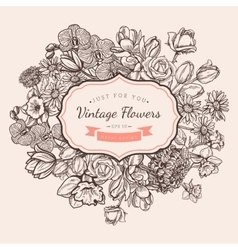Flower vintage styled sketch background vector image