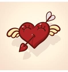 Fulish cartoon heart with wing vector