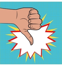 Hand sign thumbs down pop art color back vector image