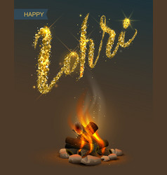 Happy Lohri Punjabi festival Bonfire on dark vector image