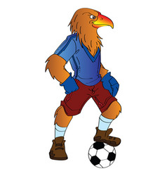 Humanoid eagle playing soccer vector