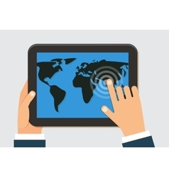 Man holding tablet with world map flat vector