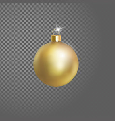 matted yellow gold christmas ball tree decoration vector image vector image