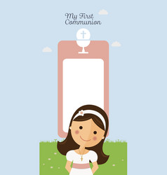 My first communion vertical invitation on blue vector