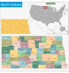 North dakota map vector