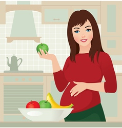 Pregnancy and healthy food vector image vector image