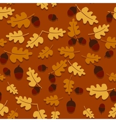 Seamless autumn background with oak leaves and vector