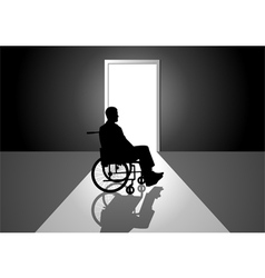 Silhouette of a person on a wheelchai vector