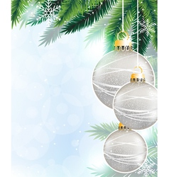 Silver christmas decorations vector