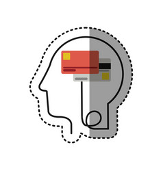 Sticker silhouette profile human head with debit vector