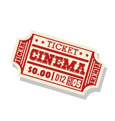 ticket cinema isolated icon vector image vector image