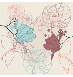valentine heart in floral style isolated vector image