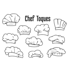 White chef caps and toques set vector
