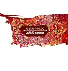 Graphic artistic horizontal banner with doodle vector