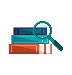 Books and magnifying glass icon vector