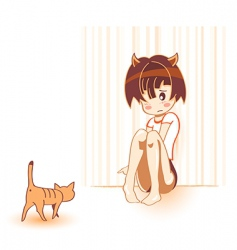cat and girl vector image