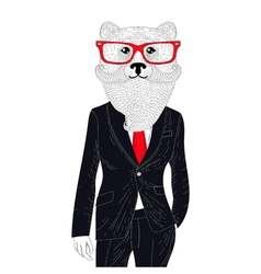 Brutal bear in elegant classic suit hand drawn vector