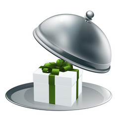 gift on a silver platter vector image