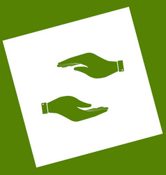hand sign   white icon vector image